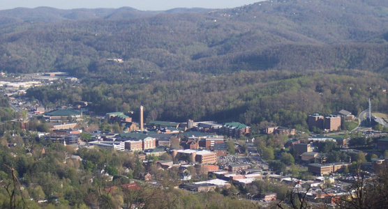 Aerial view of the town of Boone, NC