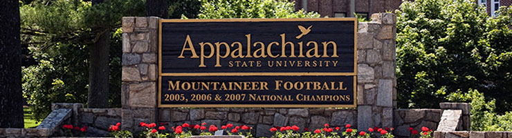 Appalachian State University entrance sign
