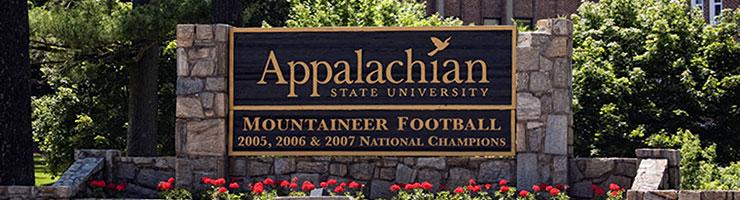 Appalachian State University entrance sign