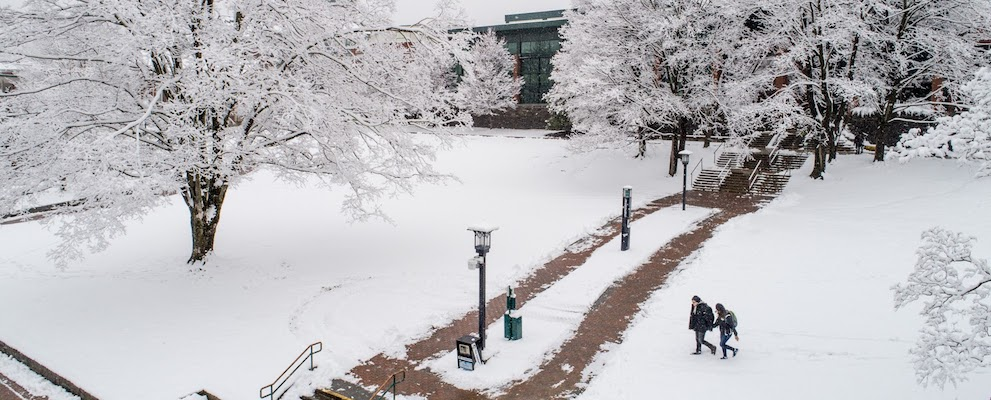 snowing in Boone and campus