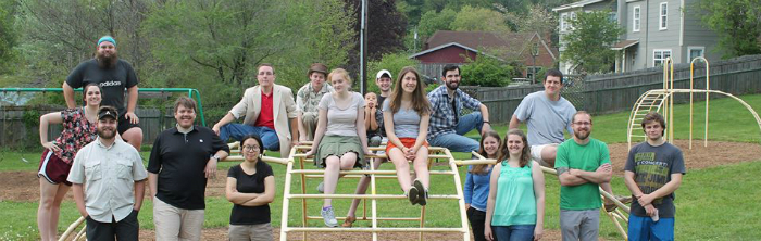 graduate students on a playground