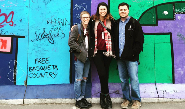 History alums Zach Brinkman ('16), Meghan Andreoli ('16), and Troy Colvard ('16) take a break from student teaching in Germany to visit the Berlin Wall.