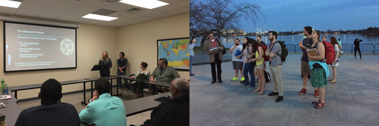 two merged images. Left: students present research to a classroom audience. Right: Students on research trip to Washington, DC.